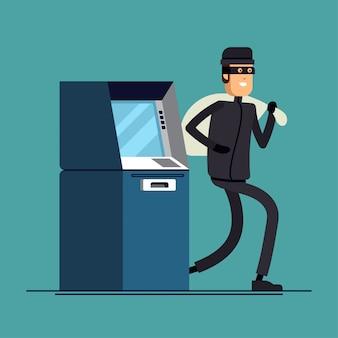 Stock isolierte illustration dieb stiehlt geld von geldautomaten