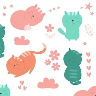 Stock vektorgrafik adorable katzen muster