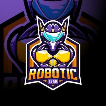 Stock vektorgrafik roboter team maskottchen logo abbildung.