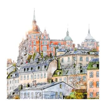 Stockholm schweden aquarell skizze hand gezeichnete illustration