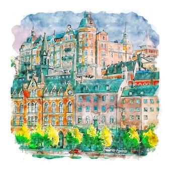 Stockholm schweden aquarellskizze handgezeichnete illustration