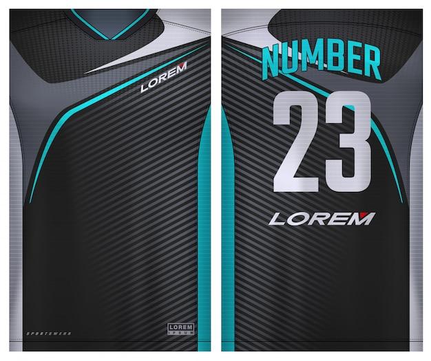 Stoff textil für sport t-shirt, fußballtrikot für fußballverein. einheitliche vorder- und rückansicht.