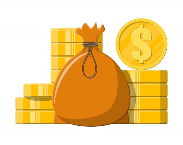 Stoffbeutel mit geld. stapel goldener münzen.