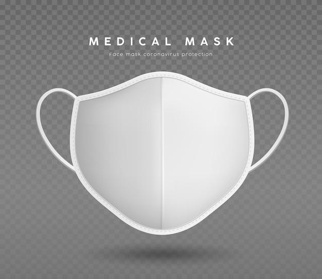 Stoffgesichtsmaske weiße farbe mit weißen maskenbändern