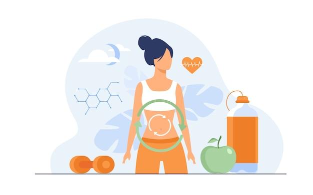 Stoffwechselprozess der frau auf diät
