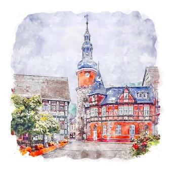 Stolberg deutschland aquarellskizze handgezeichnete illustration