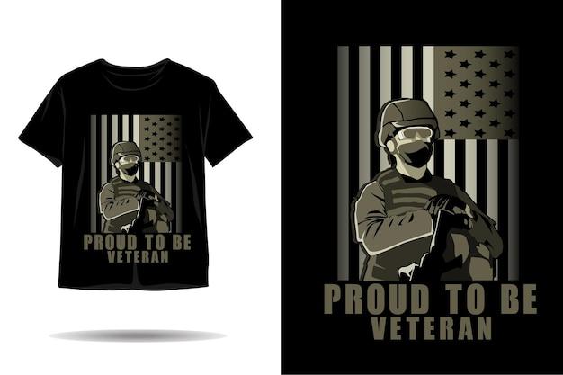 Stolz darauf, veteranen-silhouette-t-shirt-design zu sein Premium Vektoren