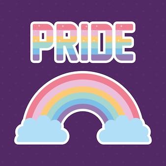 Stolzbeschriftung mit lgbtq stolzfarben auf einem regenbogen