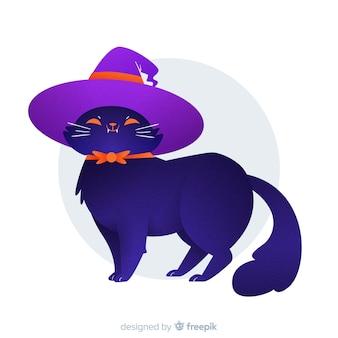 Stolze katze, die einen hexenhut trägt
