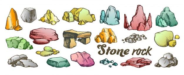 Stone rock gravel sammlungssatz Premium Vektoren