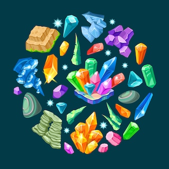 Stones decoration isometric set