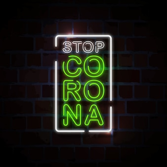 Stop corona neon style zeichen illustration