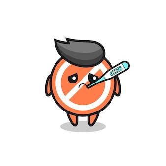 Stop-schild-maskottchen-charakter mit fieberzustand, süßes design für t-shirt, aufkleber, logo-element