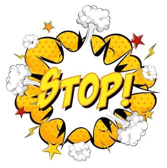 Stop-text auf comic-wolkenexplosion lokalisiert auf weißem hintergrund