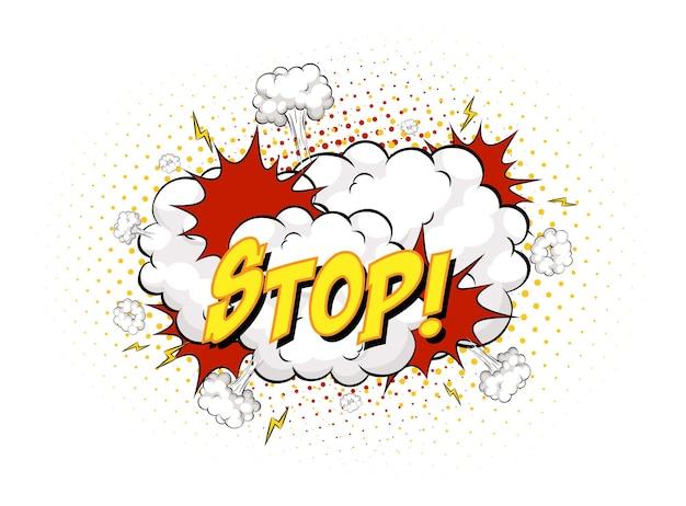 Stopp-text auf comic-wolkenexplosion isoliert auf weißem hintergrund