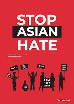 Stoppen sie asiatischen hass. menschen silhouetten halten plakate gegen rassismus. unterstützung während der covid-19-coronavirus-pandemie