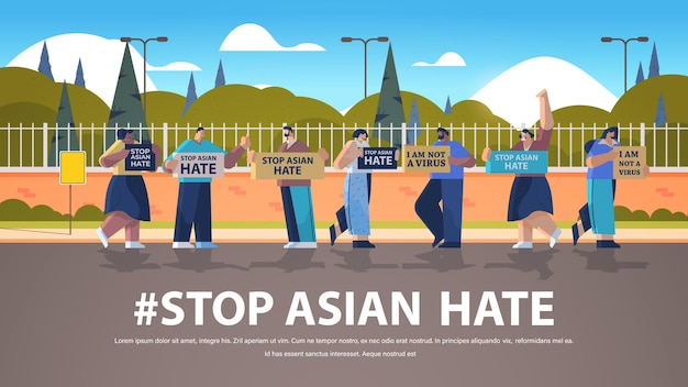 Stoppen sie asiatischen hass. mix-race-leute, die im park gegen rassismus protestieren. unterstützung während der covid-19-coronavirus-pandemie