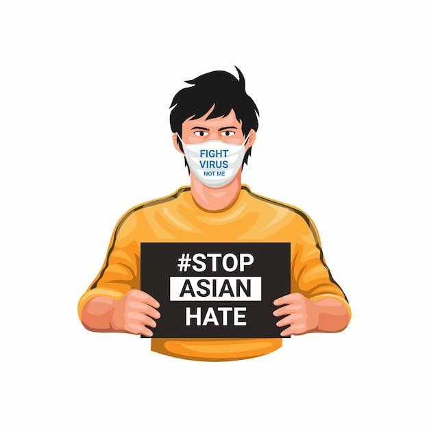 Stoppen sie asiatischen hass und bekämpfen sie virus mit asiatischem jungen, der maske trägt und zeichen hält