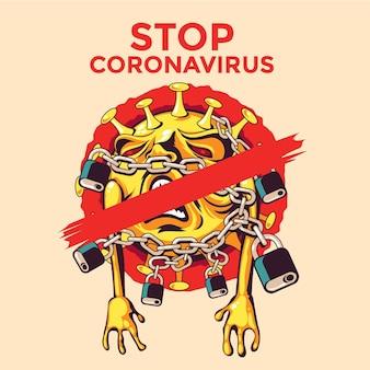 Stoppen sie coronavirus-bakterien in ketten