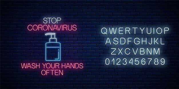 Stoppen sie coronavirus leuchtreklame mit flüssigseife. covid-19-virus-warnsymbol im neonstil mit alphabet