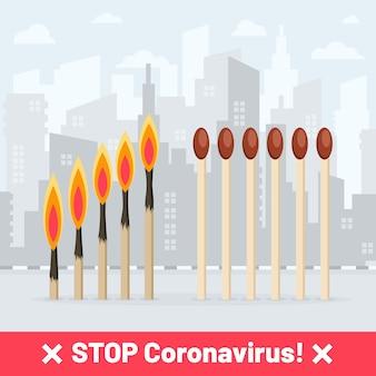 Stoppen sie coronavirus-übereinstimmungen