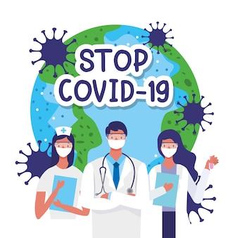 Stoppen sie covid 19 mit ärzten und planeten zwischen viren. vektor-illustration