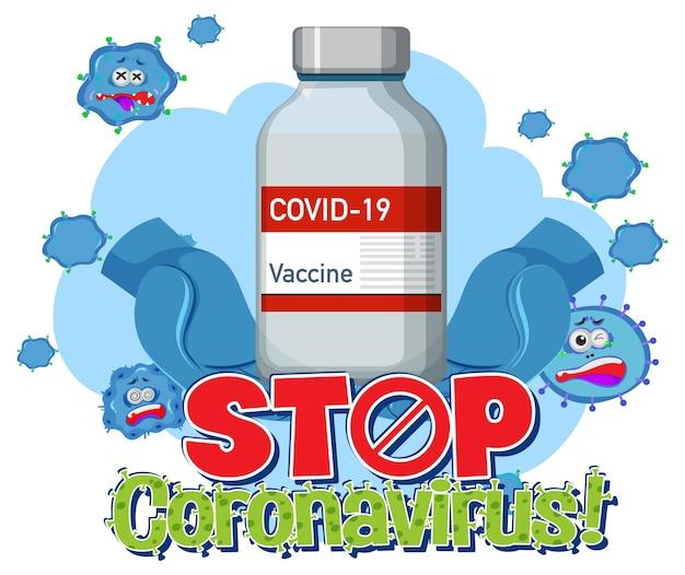 Stoppen sie das coronavirus-banner mit der covid-19-impfstoffflasche auf weißem hintergrund