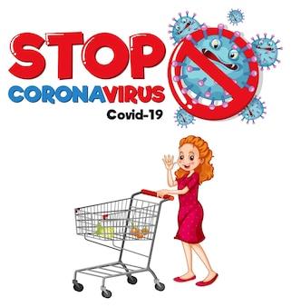Stoppen sie das coronavirus-banner mit einer frau, die auf weißem hintergrund am einkaufswagen steht