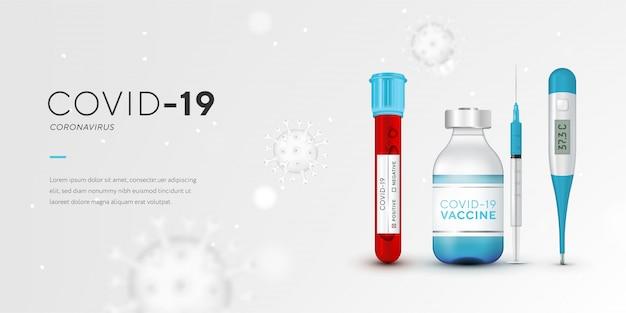 Stoppen sie das coronavirus-banner mit leerzeichen für ihre kreativität. covid-19-schnelltest, impfstoff, thermometer, spritze, 3d-viruszellen auf blauem hintergrund. coronavirus krankheit