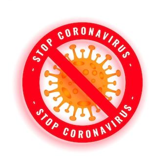 Stoppen sie das coronavirus-covid-19-kettensymbol mit der viruszelle