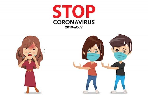 Stoppen sie das coronavirus. die coronavirus-infografik muss die 2019-ncov-krankheit verhindern.