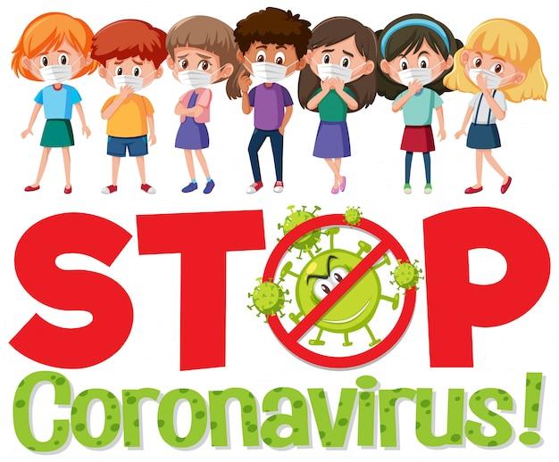 Stoppen sie das coronavirus-logo mit einer gruppe von teenager-zeichentrickfiguren