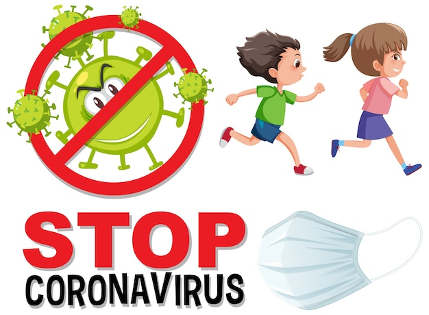Stoppen sie das coronavirus-logo, während kinder laufen