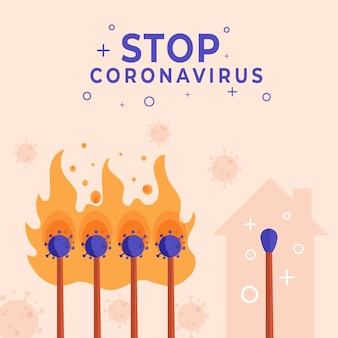 Stoppen sie das coronavirus mit dem match-konzept