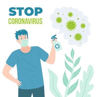 Stoppen sie das coronavirus mit einem desinfektionsmittel