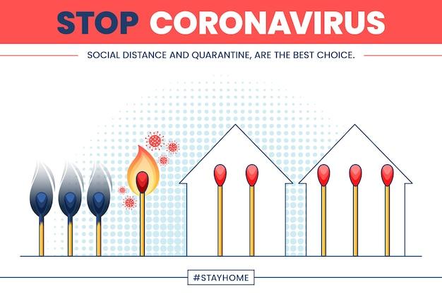 Stoppen sie das coronavirus mit streichhölzern