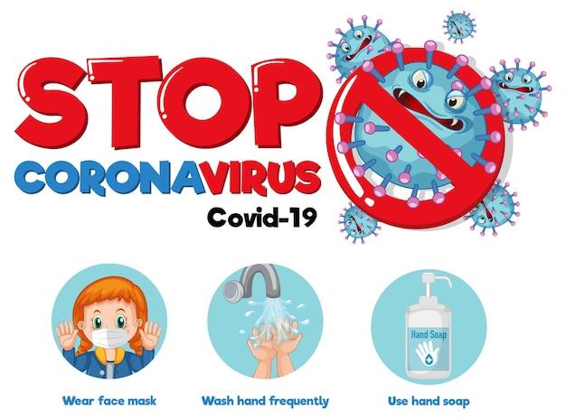 Stoppen sie das coronavirus-schriftdesign mit covid-19-prävention auf weißem hintergrund white