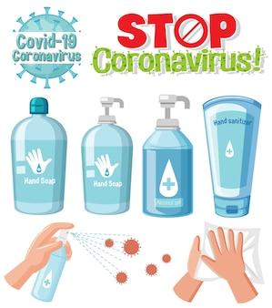 Stoppen sie das coronavirus-textzeichen mit dem coronavirus-design und den desinfektionsprodukten