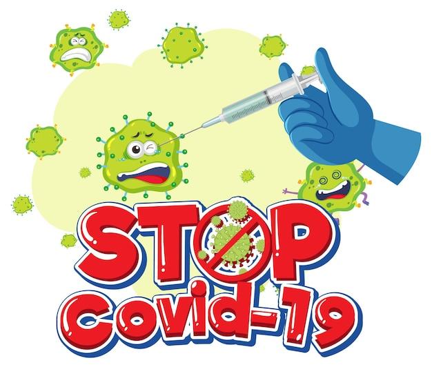 Stoppen sie das covid-19-logo oder -banner mit der covid-19-impfstoffflasche und dem coronavirus-zeichen