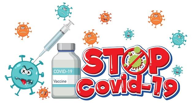 Stoppen sie das covid-19-logo oder -banner mit der covid-19-impfstoffflasche