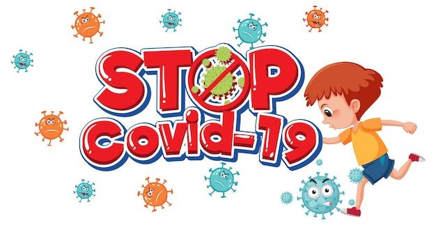 Stoppen sie das covid-19-logo oder -banner mit kinderzeichentrickfigur