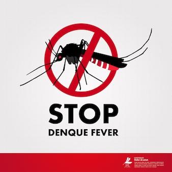 Stoppen sie das denque-fieber und stoppen sie die mückenillustration.