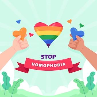 Stoppen sie das illustrierte konzept der homophobie