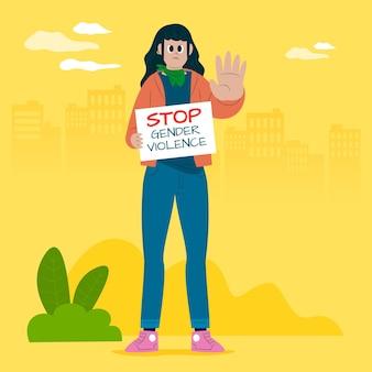 Stoppen sie das konzept der geschlechtsspezifischen gewalt