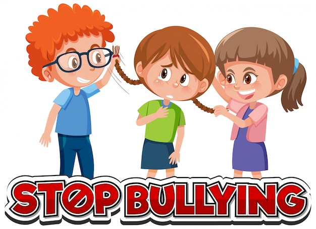 Stoppen sie das schriftdesign der häuslichen gewalt mit dem mobbingfreund der kinder