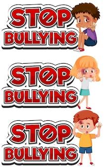 Stoppen sie das schriftdesign der häuslichen gewalt mit traurigen kindern