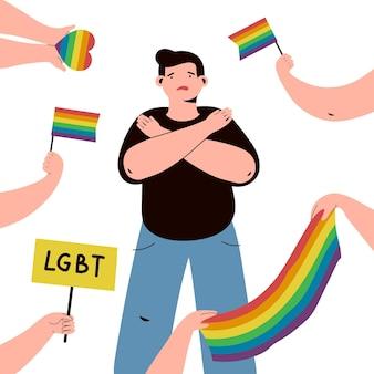 Stoppen sie das thema der homophobie-illustration