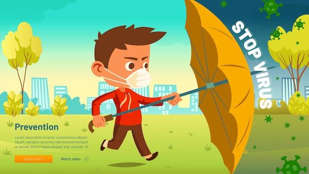 Stoppen sie das virenbanner mit dem kleinen jungen in der medizinischen maske mit regenschirm, der vor covid schützt
