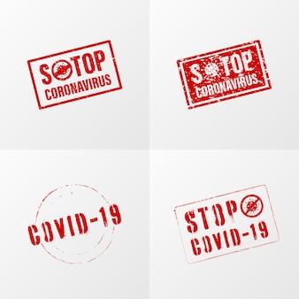 Stoppen sie den coronavirus-stempel in roter farbe