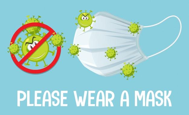 Stoppen sie den virus, indem sie eine maske tragen
